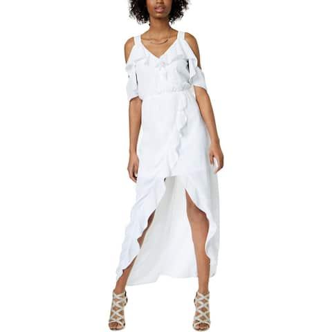 XOXO Womens Juniors Maxi Dress Ruffled Cold Shoulder