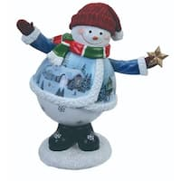"Pack of 2 Musical Winter Waving Snowman Table Top Figures 6.5"" - WHITE"