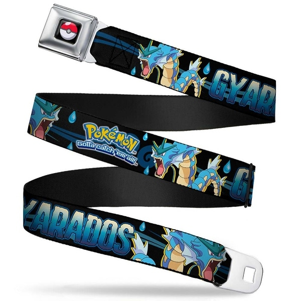 Pok Ball Full Color Black Pokmon Logo Gyarados Pose Water Drops Black Seatbelt Belt