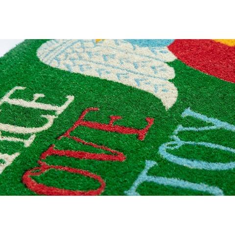 Peace Love & Joy Coir Doormat