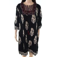Meaneor Womens Large Embroidered Tassel Shift Dress