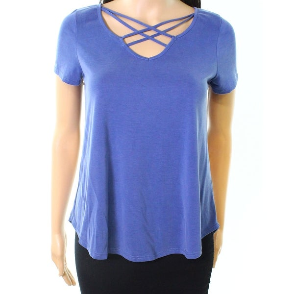 Moa Moa Sea Blue Women's Size XS Strappy Cross Front Knit Top