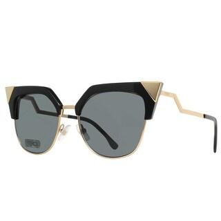 Fendi FF 0149/S REW P9 Shiny Black/Gold Iridia Cat Eye Women's Sunglasses - Shiny Black - 54mm-18mm-140mm