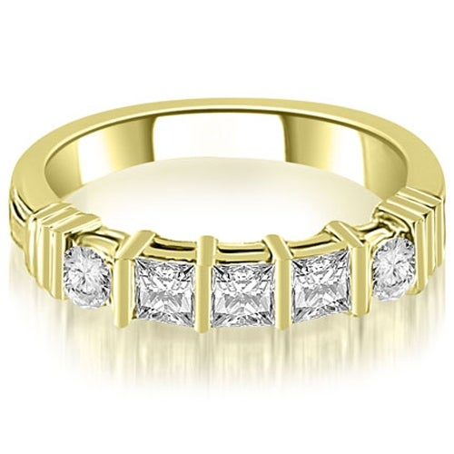 0.70 cttw. 14K Yellow Gold Princess And Round Cut Diamond Wedding Band