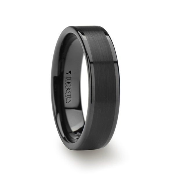 THORSTEN - VULCAN Flat Black Tungsten Ring with Brushed Center & Polished Edges - 6mm