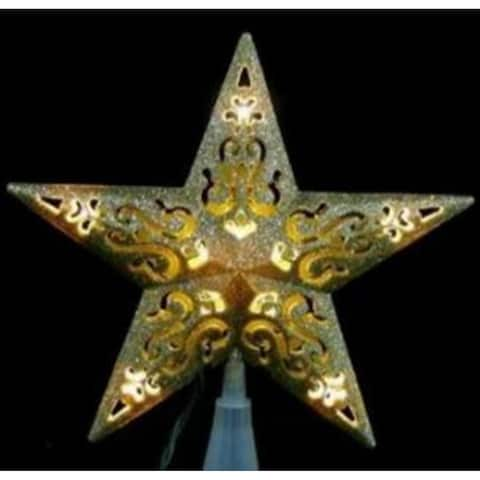"""8.5"""" LED Lighted Gold Cutout 5-Point Star Christmas Tree Topper - Clear Lights - N/A"""