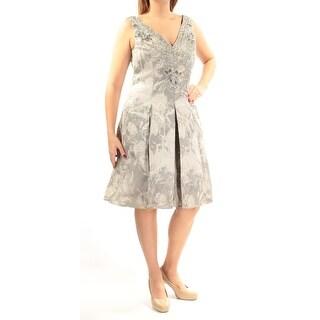 AIDANMATTOX $395 Womens New 1187 Silver Sequined Beaded Pleated Dress 12 B+B