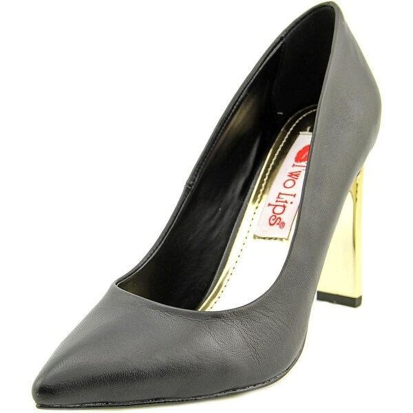 Two Lips Annie 14 Women Pointed Toe Leather Black Heels