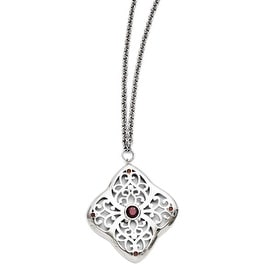 Chisel Stainless Steel Red CZ Square with 2in ext. Necklace (3 mm) - 30 in