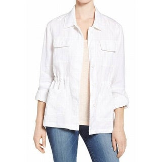 Two by Vince Camuto NEW White Womens Size Large L Relaxed Cargo Jacket