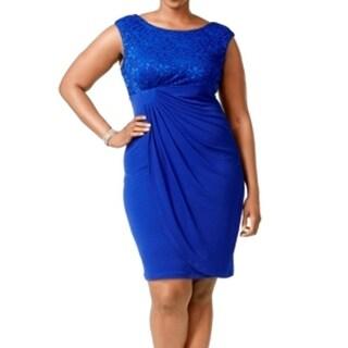 Connected Apparel NEW Blue Women's 18W Plus Sequin Lace Sheath Dress