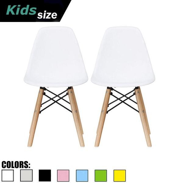2xhome Set of 2 White Modern Plastic Wood Chairs Natural Wood Kids Children Child Activity Daycare School Kingergarden