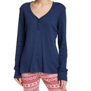 Ugg NEW Blue Women's Size Small S Henley Ribbed V-Neck Sleepshirt