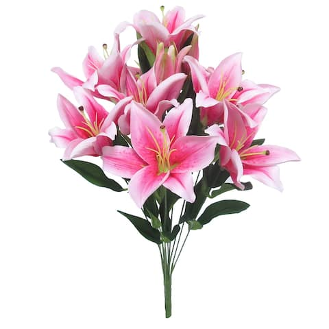 Set of 2 Grand Tiger Lily Flower Stems Bush Bouquet 22in