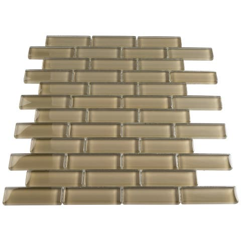 "TileGen. 1"" x 3"" Glass Mosaic Tile in Tan Wall Tile (10 sheets/9.5sqft.)"
