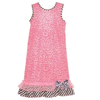 Laura Dare Little Girls Fuchsia Leopard Pattern Contrast Stripe Nightgown 4-6X