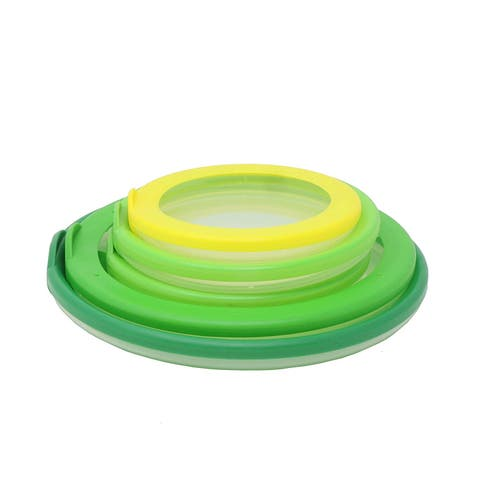 5 Pack Farberware Flexible Bowl Huggers - Airtight Seal Keeps Food Fresh, BPA Free Plastic & Silicone - Assorted - Green Yellow