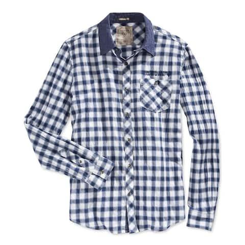 GUESS Mens Check Print Button Up Shirt, Blue, XX-Large
