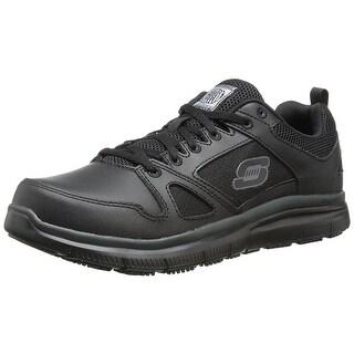 Skechers for Work Men's Flex Advantage Slip Resistant Oxford Sneaker, Black