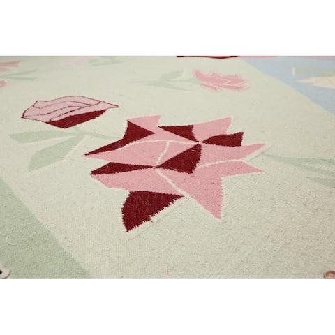 "Ivory,PalePink,LightGreen, Lavender, Rose Multi Oriental Rug Wool Traditional Oriental Area Rug (6x9) - 6'5"" x 9'8"""