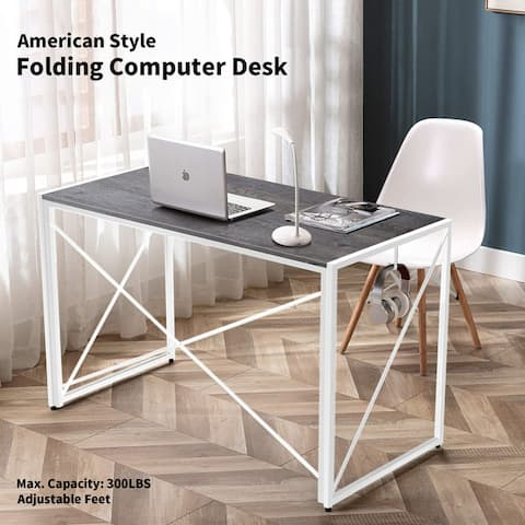 Nova Furniture Folding Home Office Computer Desk, multifunction Laptop Table Portable Study Writing for small space-Grey Desktop