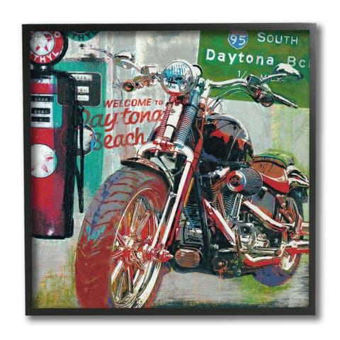 Stupell Industries Colorful Motorcycle Gas Station Pop Art Collage Framed Wall Art