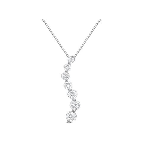 Auriya 14k Gold Curved Diamond Journey Necklace 1 carat TW