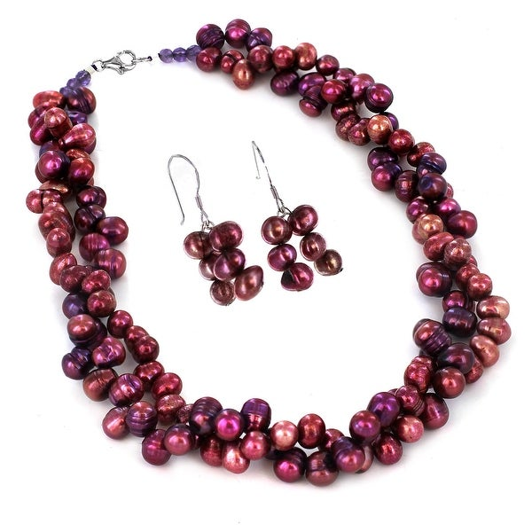 Sterling Silver Purple Cultured Pearl Beaded Necklace and Earring Set