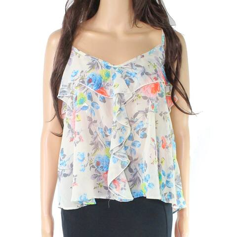 LIVING DOLL Ivory Floral Ruffled Casual Women's Size Large L Blouse
