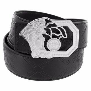 """Medusa Open Face Buckle Silver Tone Free Leather Belt 46"""" Waist Celeb Wear"""