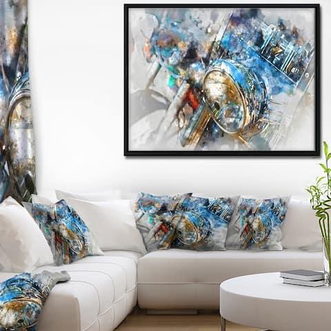 Designart 'Motorcycle Headlight Watercolor' Contemporary Framed Canvas Art Print