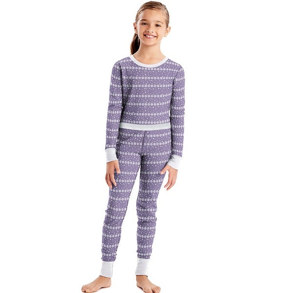 Hanes X-Temp®; Girls' Organic Cotton Printed Thermal Set - Size - M - Color - Lavender Snowflakes
