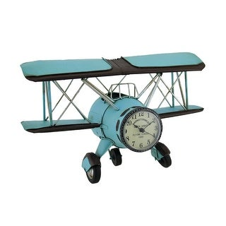 Blue Barnstormer Retro Biplane Wall Clock Sculpture 12 Inch - 7.25 X 11.75 X 4.75 inches