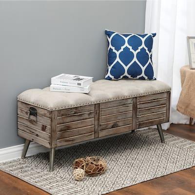 Upholstered Wood Storage Bench