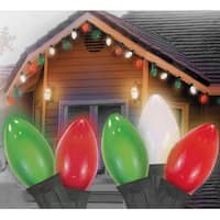 25 Opaque Red, Clear White and Green C7 Christmas Lights - 24 ft Green Wire - multi