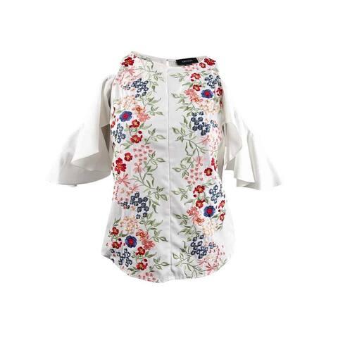 5b6ec5611c Karen Kane Women's Embroidered Cold-Shoulder Top (L, Off White) - Off