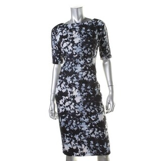 Vince Camuto Womens Floral Print Elbow Sleeves Wear to Work Dress