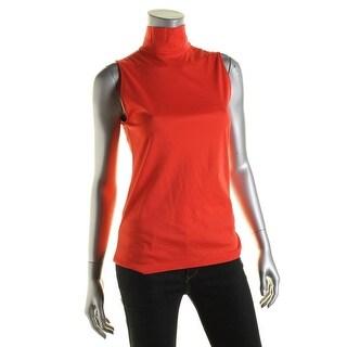 Lauren Ralph Lauren Womens Pullover Top Pima Cotton Mock Neck
