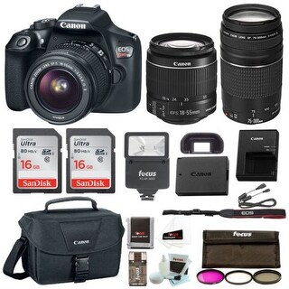 Canon Rebel T6 DSLR Camera w/18-55mm & 75-300mm Lenses