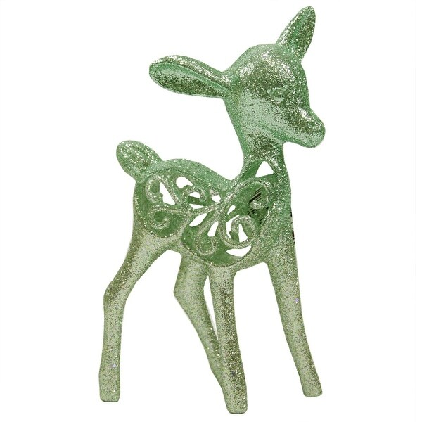 "5.5"" Silent Luxury Pastel Green Glittered Deer Christmas Ornament"