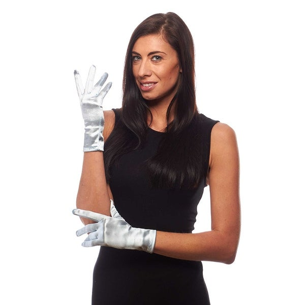 Beautiful Wrist Length Short Satin Gloves
