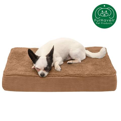 FurHaven Snuggle Terry and Suede Cooling Gel-Top Memory Orthopedic Dog Bed