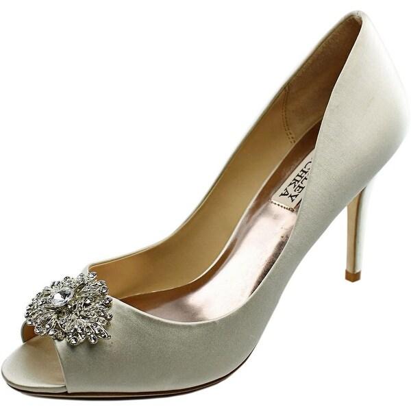 Badgley Mischka Accent Women Peep-Toe Canvas Ivory Heels