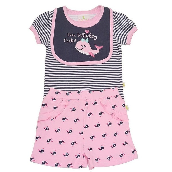 Duck Duck Goose Baby Girls Pink Whale Print Bodysuit Bib 3 Pc Shorts Set