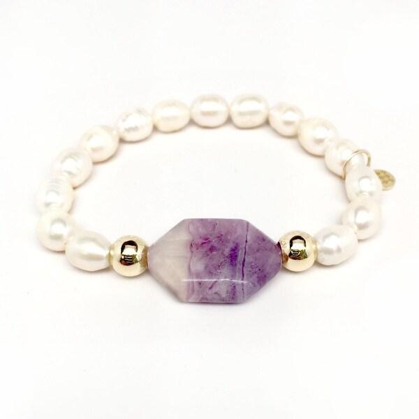 """Freshwater Pearl & Purple Amethyst Rock Candy 7"""" Bracelet"""
