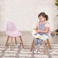 VECELO Kids Chairs Modern Style Wood Leg Polyurethane Chair (Set of 4)