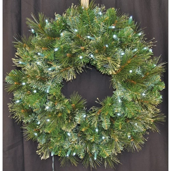 """Christmas at Winterland WL-GWBM-02-LPW 24"""" Pre-Lit Pure White LED Blended Pine Wreath Indoor / Outdoor - Pure White - N/A"""