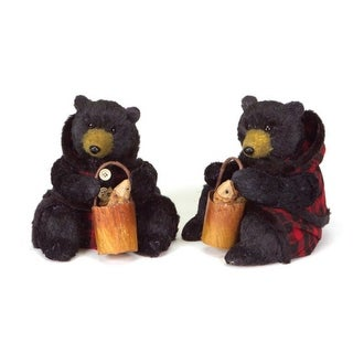Set of 2 Rustic Lodge Sitting Black Bear Christmas Figures in Red Plaid 8""