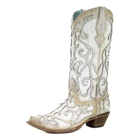 """Corral Western Boots Womens Leather 13"""" Shaft Crystals Snip Toe"""