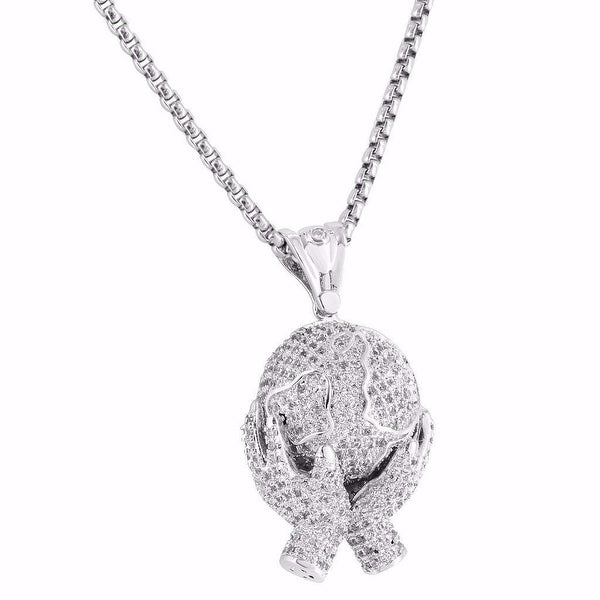 """Hands Holding World Pendant 1.5"""" Full Iced Out Lab Diamonds 24 Inch Chain"""